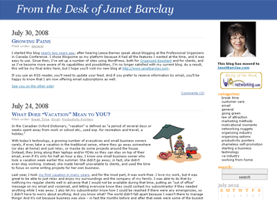 From the Desk of Janet Barclay - original blog